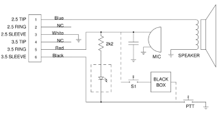 i opened up the speaker mic, and drew a schematic of what i found inside   the modifications are also shown: firstly, i removed the led which really  serves